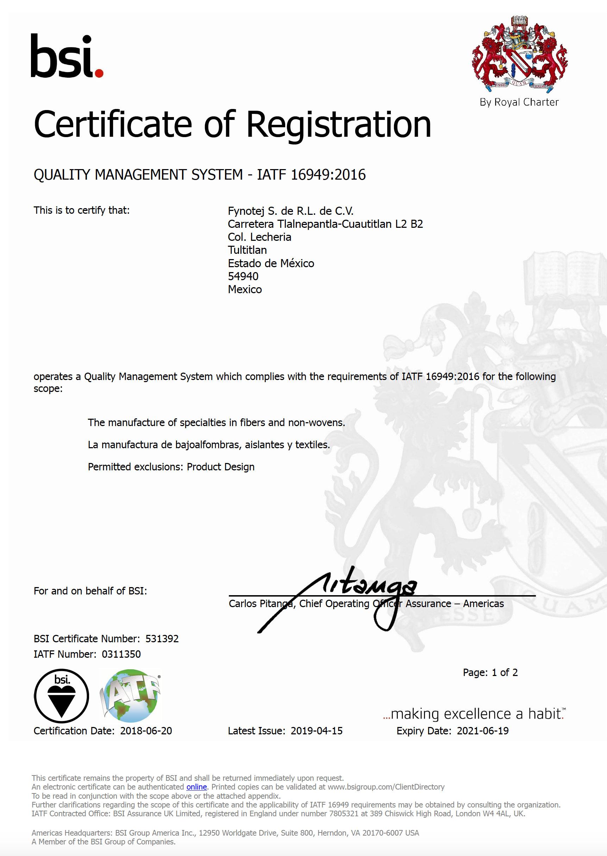 Certificado IATF